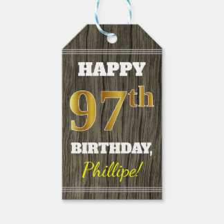 Faux Wood, Faux Gold 97th Birthday + Custom Name Gift Tags