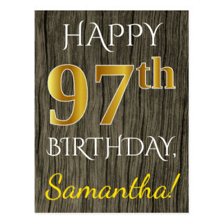 Faux Wood, Faux Gold 97th Birthday + Custom Name Postcard