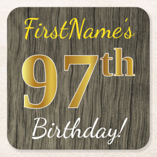 Faux Wood, Faux Gold 97th Birthday + Custom Name Square Paper Coaster
