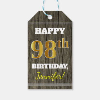 Faux Wood, Faux Gold 98th Birthday + Custom Name Gift Tags