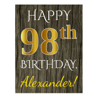 Faux Wood, Faux Gold 98th Birthday + Custom Name Postcard