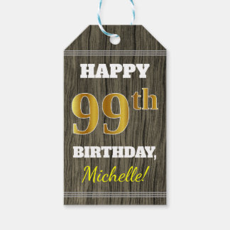Faux Wood, Faux Gold 99th Birthday + Custom Name Gift Tags
