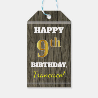 Faux Wood, Faux Gold 9th Birthday + Custom Name Gift Tags