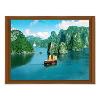 Faux Wood Frame Malaysia Sailboat Ocean Photo Print