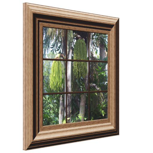 Faux Wood Framed Window Tropical View Canvas Art Canvas Print