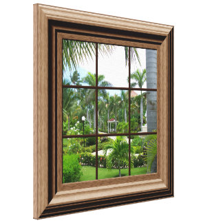 Faux Wood Framed Window Tropical View Canvas Art Gallery Wrapped Canvas