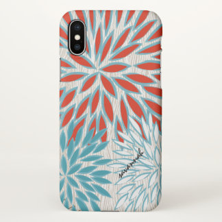 Faux Wood Grain Red and Teal Floral iPhone Case