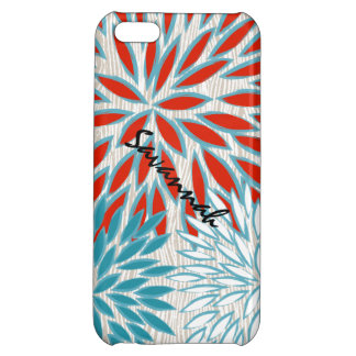 Faux Wood Grain Red and Teal Floral iPhone Case iPhone 5C Cover