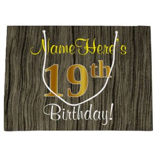 Faux Wood Look, Faux Gold 19th Birthday + Name Large Gift Bag