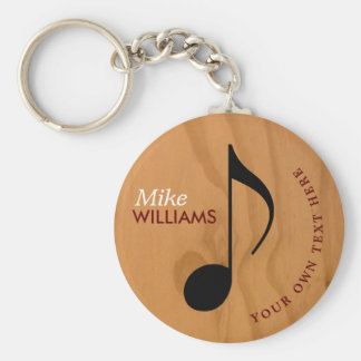 faux wood music symbol keychain with name
