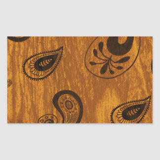 Faux Wood Paisley Rectangular Sticker