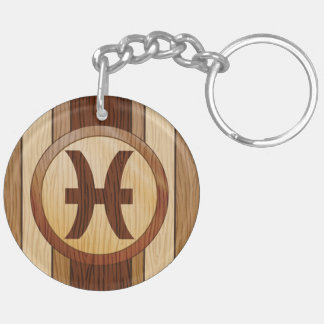 Faux Wood Pisces Astrology Symbol Double-Sided Round Acrylic Key Ring