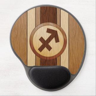 Faux Wood Sagittarius Symbol. Gel Mouse Pads