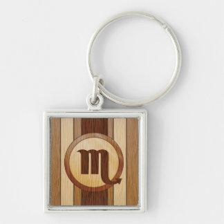 Faux Wood Scorpio Astrology Symbol Silver-Colored Square Key Ring
