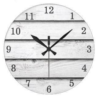 Faux Wood Slats | White | Customisable Large Clock
