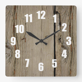 Faux Wood Square Decorative Wall Clock