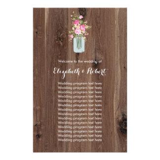 Faux Wood with Flower Mason Jar Pink 14 Cm X 21.5 Cm Flyer