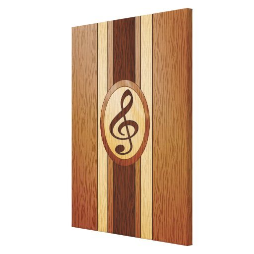 Faux wood with inlay treble clef stretched canvas print