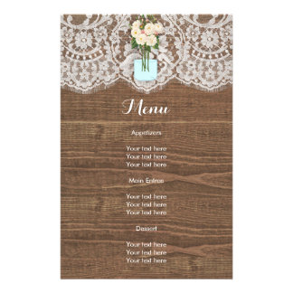 Faux Wood with Lace and Mason Jar White 14 Cm X 21.5 Cm Flyer