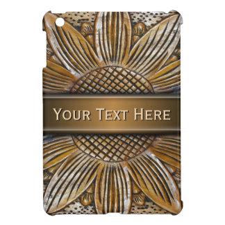 Faux Wooden Sunflower Carving Photo iPad Mini Case iPad Mini Cover