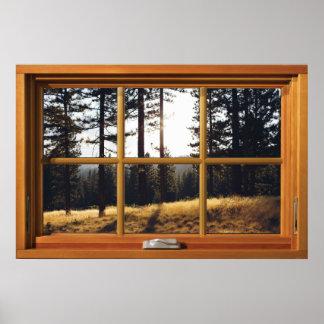 Faux Wooden Window Illusion - Autumn Pine Trees Poster