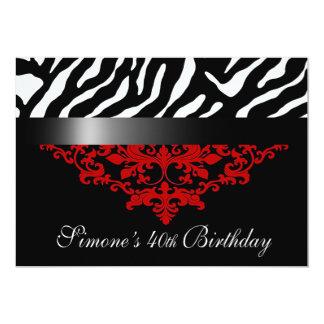 Favoloso Zebra Damask 40th Birthday Party Personalized Invite