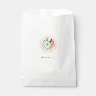 Favor bag with peach floral design favour bags