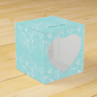 Favor Box Simple Turquoise Floral Thank you