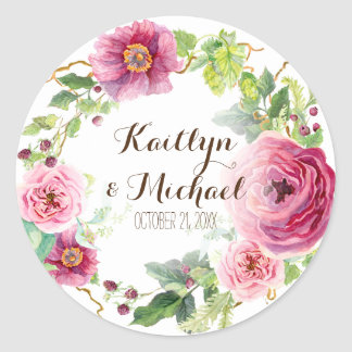 Favor Gift Bag Stickers Romantic Floral Wreath