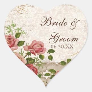 Favor Gift Stickers or Seals, Trellis Rose Vintage