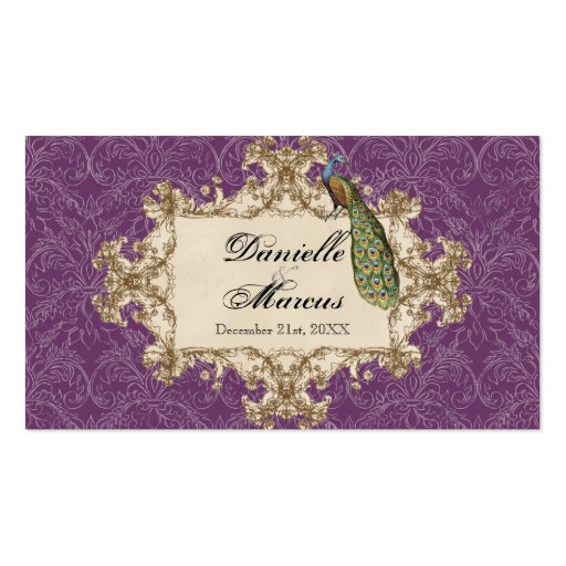 Favor Gift Tags, Purple Vintage Peacock & Etchings Business Card Templates