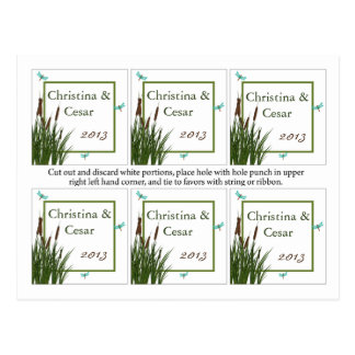 Favor Tags Cattail/Dragonfly in Color Green Blue T Postcard