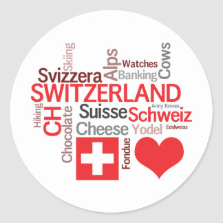 Favorite Swiss Things - I Love Switzerland Classic Round Sticker