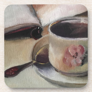 Favorite Things Tea and Reading a Book Coaster
