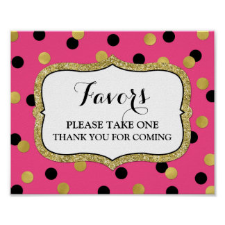 Favors Baby Shower Sign Pink Gold Black Confetti Poster