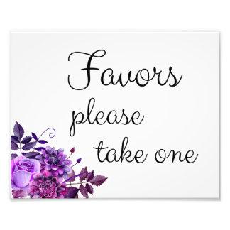 Favors sign. Purple wedding decor. Floral poster