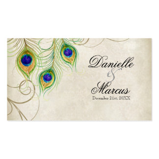 Favour Gift Tags - Peacock Feathers Wedding Set Business Cards