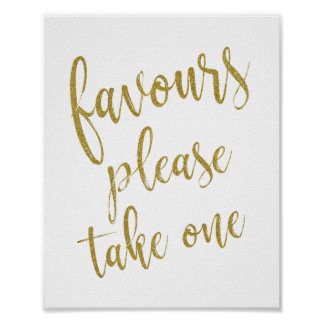 Favours Please Take One Glitter 8x10 Wedding Sign
