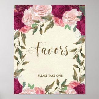 Favours sign wedding bridal shower floral