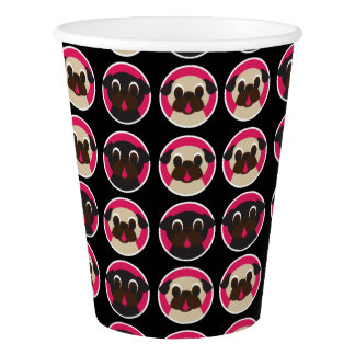 Fawn and Black Pug Head Pattern on Black Paper Cup