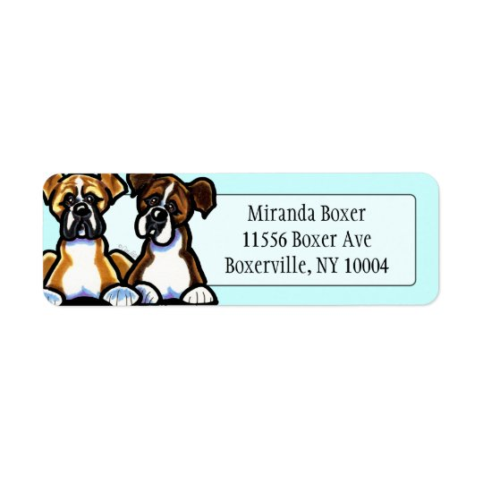 Fawn and Brindle Boxer Studio Aqua Return Address Label