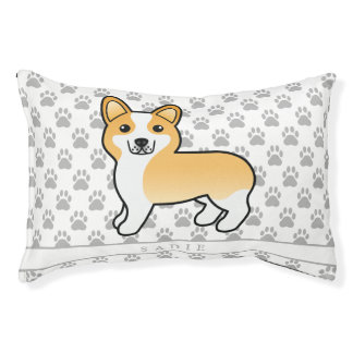 Fawn And White Welsh Corgi Pembroke Dog & Name Pet Bed
