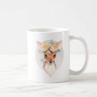 Fawn and yellow roses coffee mug