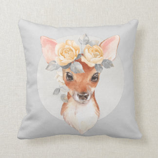 Fawn and yellow roses cushion