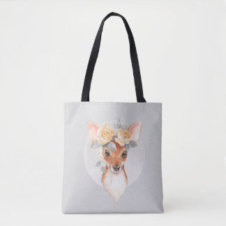 Fawn and yellow roses tote bag