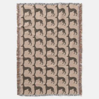 Fawn Color Greyhound Dog Silhouette Pattern Throw Blanket