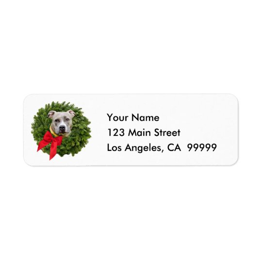 Fawn Coloured PitBull in Christmas Wreath & Red Return Address Label