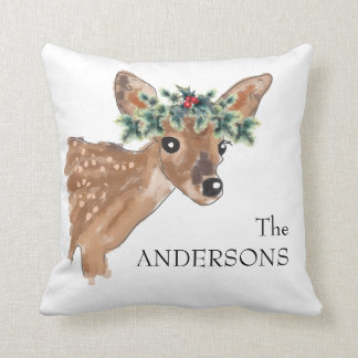 Fawn Deer Personalized Holiday Pillow