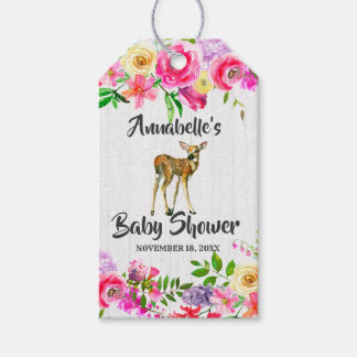 Fawn Deer Watercolor Floral Baby Shower Thank You Gift Tags