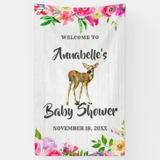 Fawn Deer Watercolor Floral Baby Shower Welcome Banner